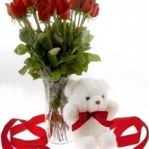 24 Red Roses in a vase with a teddy bear