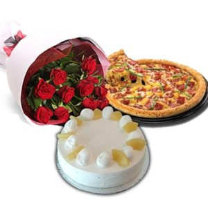 2 lbs cake 24 red roses pizza