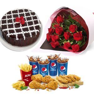cake 24 red roses kfc deal