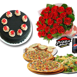cake 24 red roses pizza deal